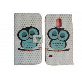 Pochette pour Samsung Galaxy S5 G900 simili-cuir blanche hibou bleu + film protection écran