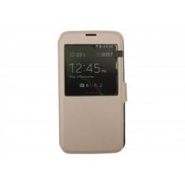 Pochette pour Samsung Galaxy S5 G900 simili-cuir rose nacré + film protection écran