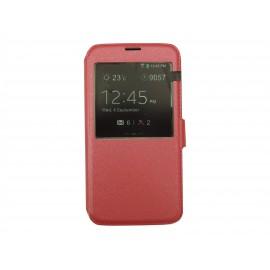 Pochette pour Samsung Galaxy S5 G900 simili-cuir rose fuschia nacré + film protection écran