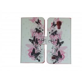 Pochette pour Samsung Galaxy S4 Mini/I9190 simili-cuir papillons noirs roses+ film protection écran