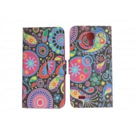 Pochette pour Samsung Galaxy S4 Mini/I9190 simili-cuir cachemire multicolore+ film protection écran
