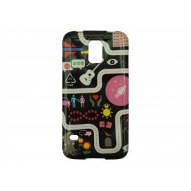 Coque TPU Samsung Galaxy S5 G900 noire guitare + film protection écran offert