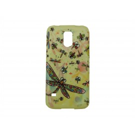 Coque TPU Samsung Galaxy S5 G900 jaune libellule + film protection écran offert