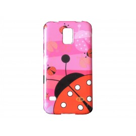 Coque TPU Samsung Galaxy S5 G900 rose coccinelle + film protection écran offert