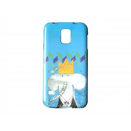 Coque TPU Samsung Galaxy S5 G900 bleue éléphant+ film protection écran offert
