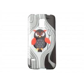 Coque TPU Samsung Galaxy S5 G900 grise hibou gris+ film protection écran offert