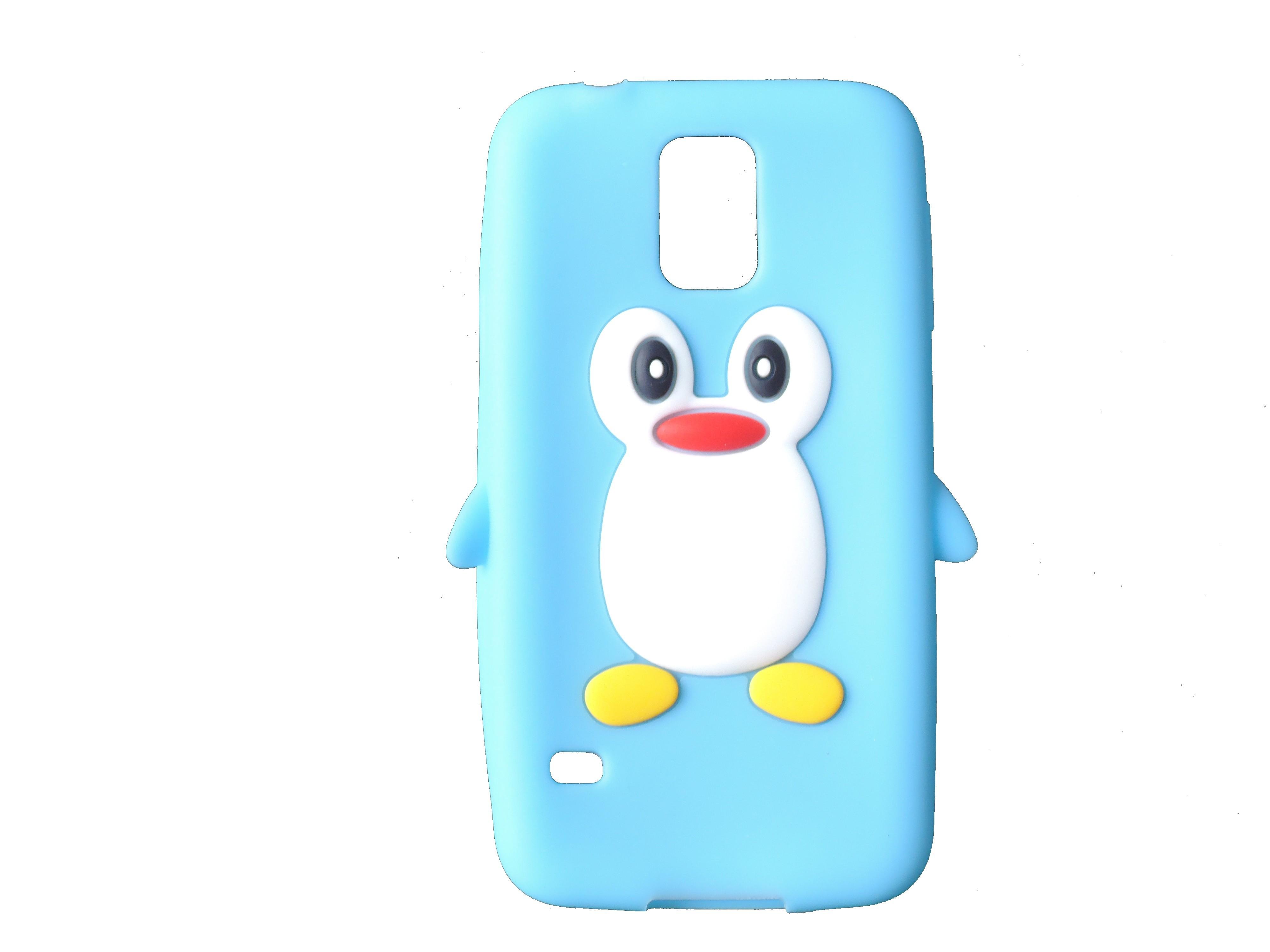 Coque TPU Samsung Galaxy S5 G900 pingouin bleu turquoise