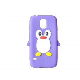 Coque silicone Samsung Galaxy S5 G900 pingouin violet + film protection écran offert