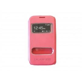 Pochette pour Samsung Galaxy core I8260 simili-cuir rose + film protection écran