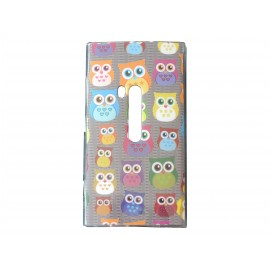 Coque TPU grise pour Nokia Lumia 920 hiboux multicolores + film protection écran offert