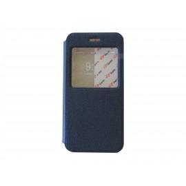 Pochette pour Iphone 6 simili-cuir bleu nuit fenêtre + film protection écran offert