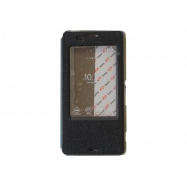 Pochette pour Sony Xperia Z3 simili-cuir noir fenêtre + film protection écran offert