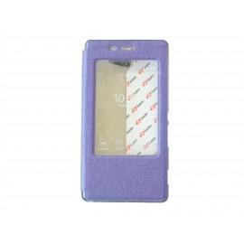 Pochette pour Sony Xperia M2 simili-cuir violet fenêtre + film protection écran offert