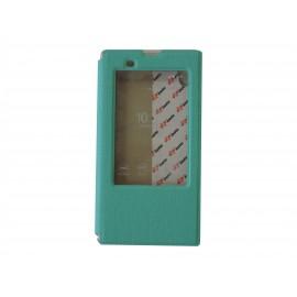 Pochette pour Sony Xperia T3 simili-cuir vert émeraude fenêtre + film protection écran offert