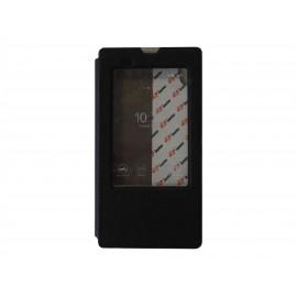 Pochette pour Sony Xperia T3 simili-cuir noir fenêtre + film protection écran offert