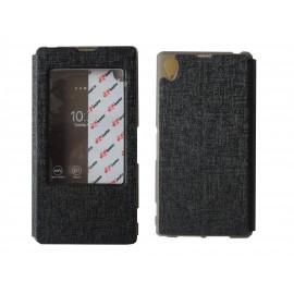 Pochette pour Sony Xperia Z1 simili-cuir noir fenêtre + film protection écran offert
