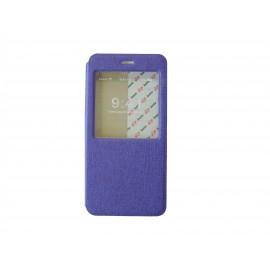 Pochette pour Iphone 6 plus simili-cuir violet fenêtre + film protection écran offert