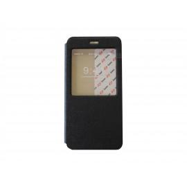 Pochette pour Iphone 6 plus simili-cuir noir fenêtre + film protection écran offert