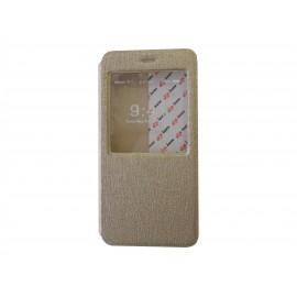 Pochette pour Iphone 6 plus simili-cuir or fenêtre + film protection écran offert