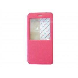 Pochette pour Iphone 6 plus simili-cuir rouge fenêtre + film protection écran offert
