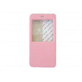 Pochette pour Iphone 6 plus simili-cuir rose clair fenêtre + film protection écran offert