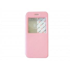 Pochette pour Iphone 6 simili-cuir rose clair fenêtre + film protection écran offert
