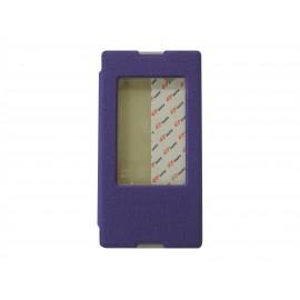 Pochette pour Sony Xperia T2 simili-cuir violet fenêtre + film protection écran offert