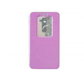 Pochette pour LG G2 violette fenêtre + film protection écran offert