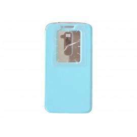Pochette pour LG G2 bleue turquoise fenêtre + film protection écran offert