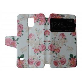 Pochette pour Samsung Galaxy S5 G900 fleurs+ film protection écran