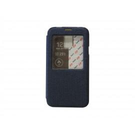 Pochette pour Samsung Galaxy S5 G900 simili-cuir bleu nuit fenêtre + film protection écran