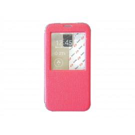 Pochette pour Samsung Galaxy S5 G900 simili-cuir rouge fenêtre + film protection écran