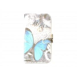 Pochette pour Samsung Galaxy Trend Lite S7390 papillon bleu + film protection écran