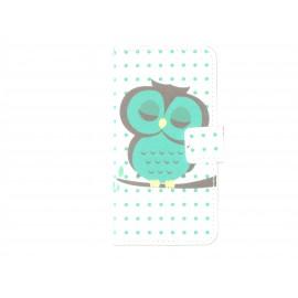 Pochette pour Samsung Galaxy Alpha G850 hibou émeraude + film protection écran