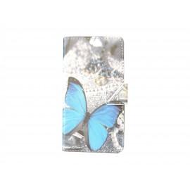 Pochette pour Samsung Galaxy Alpha G850 papillon bleu + film protection écran