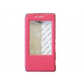 Pochette Inote pour Sony Xperia M2 rouge + film verre trempé incassable
