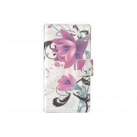 Pochette pour Sony Xperia Z3 compact fleurs roses  + film protection écran