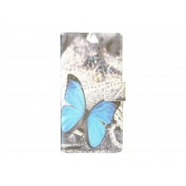 Pochette pour Sony Xperia Z3 papillon bleu + film protection écran