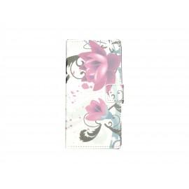 Pochette pour Wiko Highway fleurs roses et grises + film protection écran