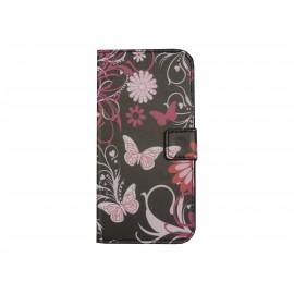Pochette pour Wiko Barry noire papillons roses + film protection écran