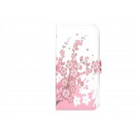 Pochette pour Wiko Barry petites fleurs roses+ film protection écran
