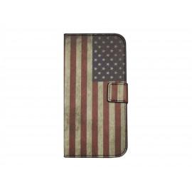 Pochette pour Wiko Barry drapeau Etats-Unis/USA + film protection écran