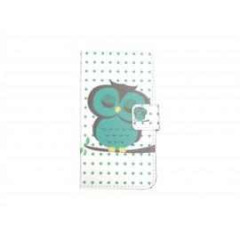 Pochette pour Samsung Galaxy Core Plus G350 hibou vert émeraude + film protection écran offert