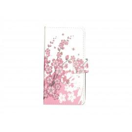Pochette pour Samsung Galaxy Alpha G850 petites fleurs roses + film protection écran