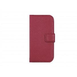 Pochette pour Samsung Galaxy Trend Lite S7390 simili-cuir rose granité+ film protection écran