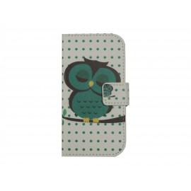 Pochette pour Samsung Galaxy Trend Lite S7390 hibou vert émeraude+ film protection écran