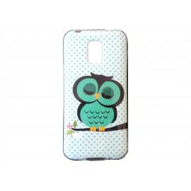 Coque TPU Samsung Galaxy S5 Mini G800 hibou vert + film protection écran offert