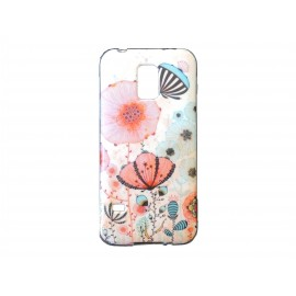 Coque TPU Samsung Galaxy S5 Mini G800 coquelicots + film protection écran offert