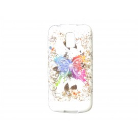 Coque TPU Samsung Galaxy S5 Mini G800 papillon multicolore+ film protection écran offert