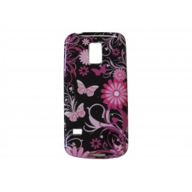 Coque TPU Samsung Galaxy S5 Mini G800 noire papillons roses+ film protection écran offert